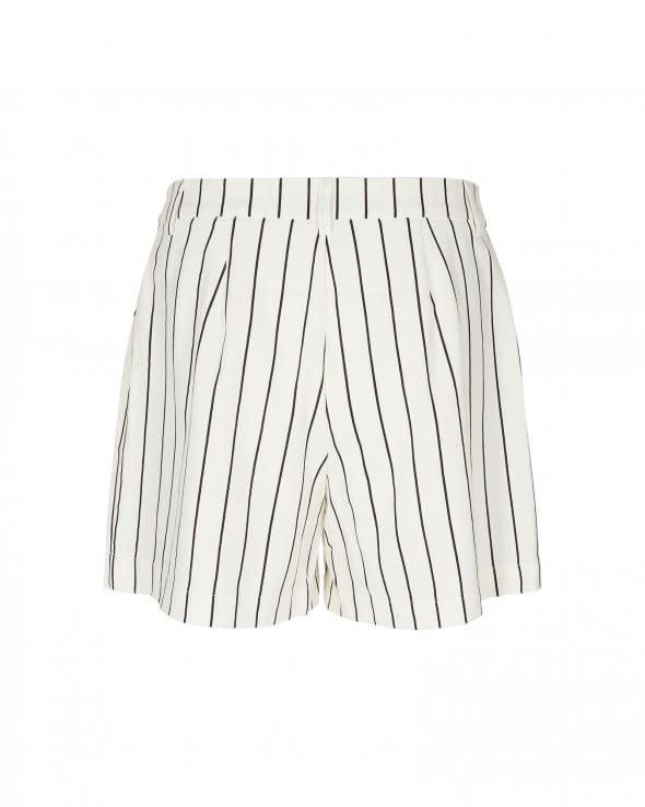 Livia White Black Striped Shorts-2