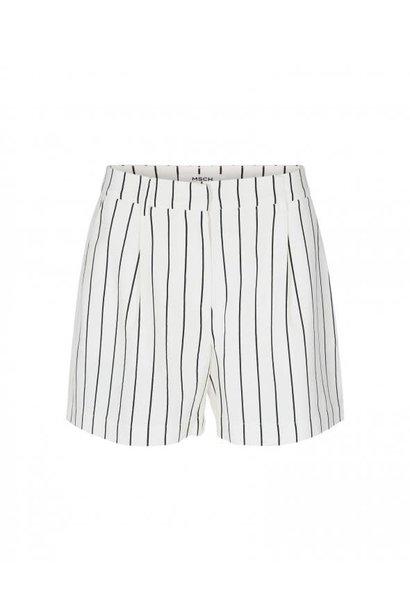 Livia White Black Striped Shorts
