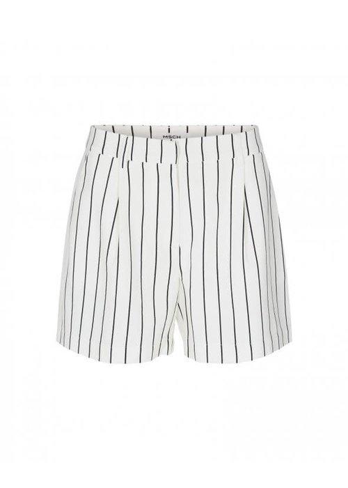 Moss Copenhagen Livia White Black Striped Shorts