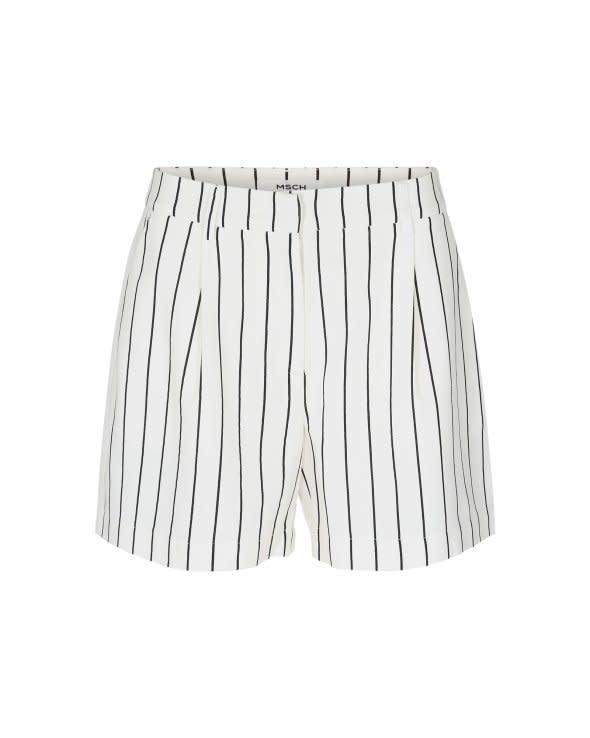Livia White Black Striped Shorts-1