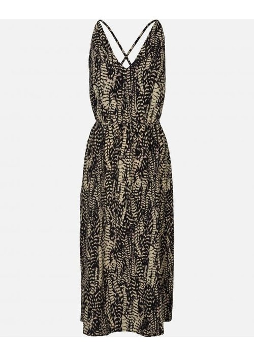 Moss Copenhagen Elvira Marocen Dress Black White