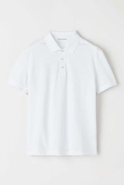 Darios witte jersey polo met platte kraag