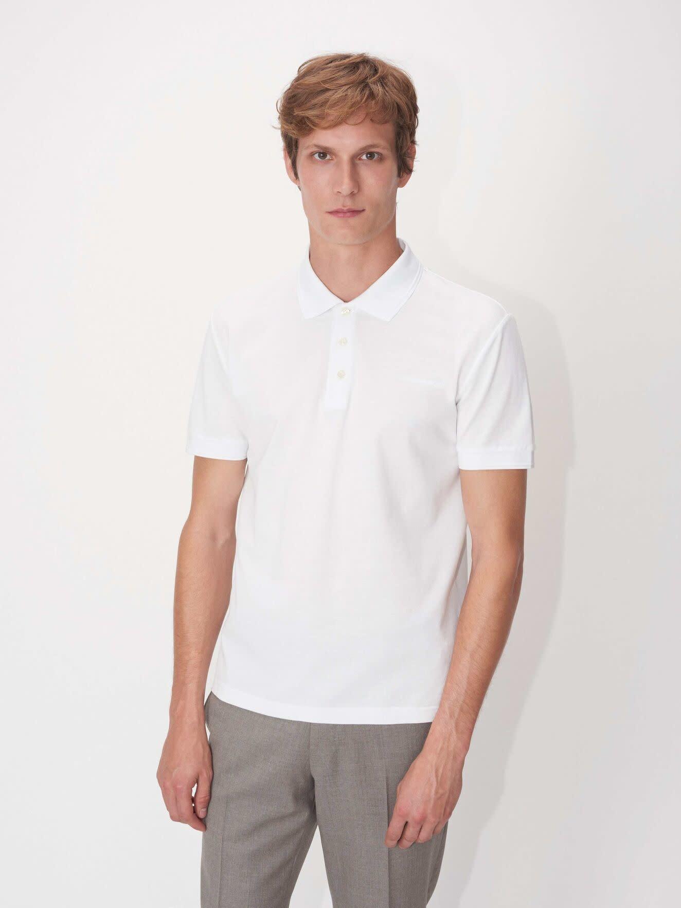 Darios White Jersey Flat Collar Polo-3