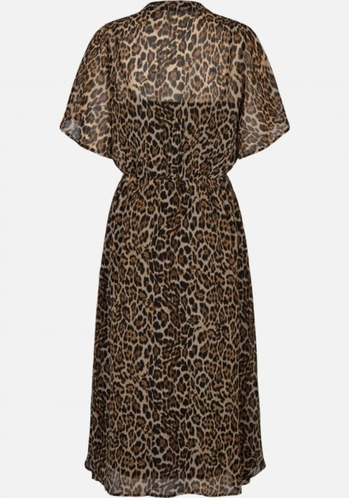 Keanna Leo Print Dress Coffee Brown