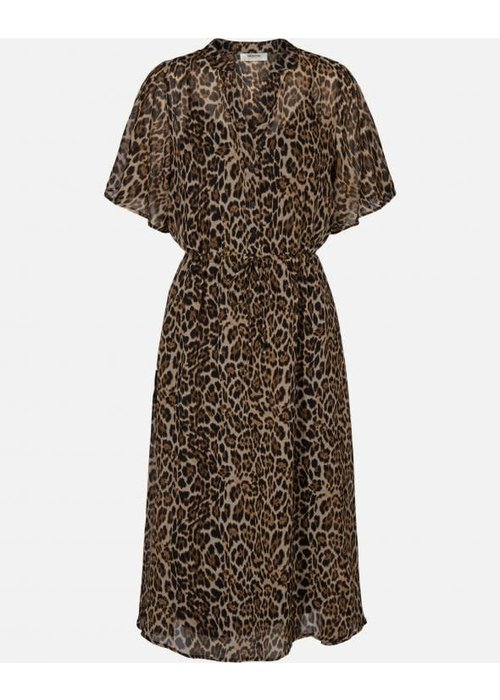 Moss Copenhagen Keanna Leo Print Dress Coffee Brown