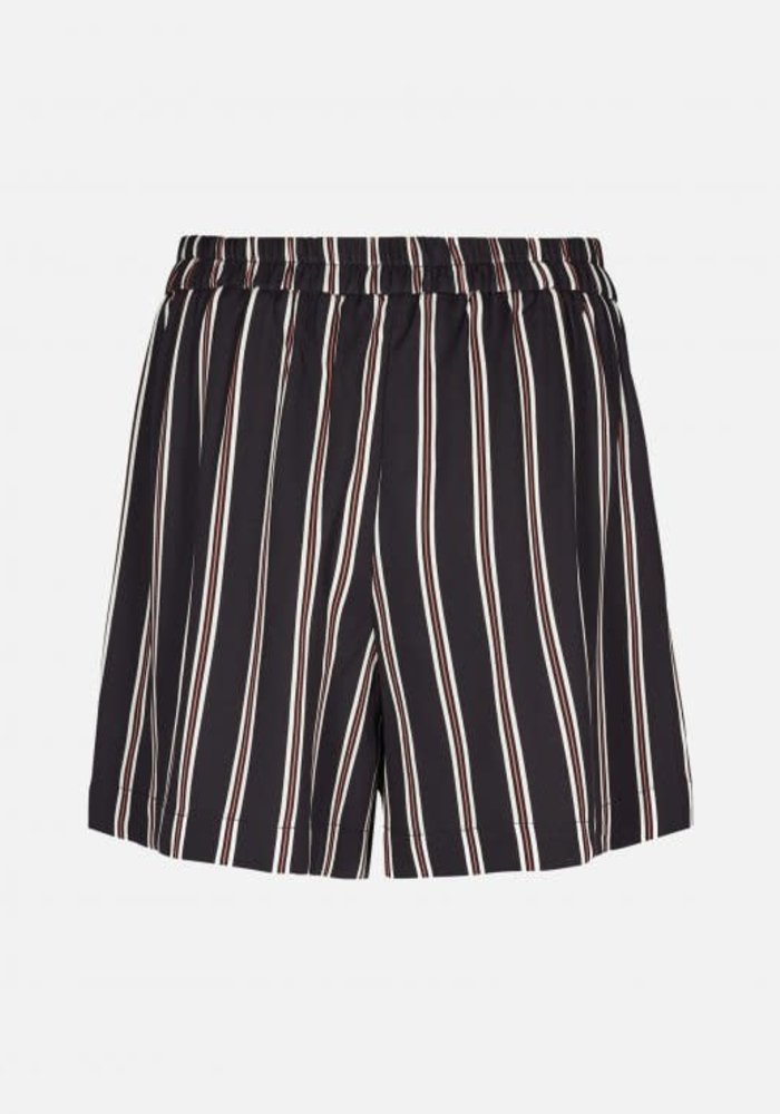 Elin Striped Shorts Black