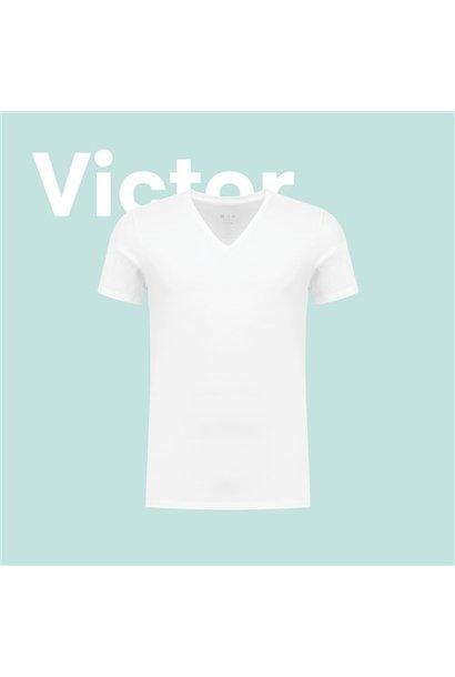 Victor White V Neck T-shirt