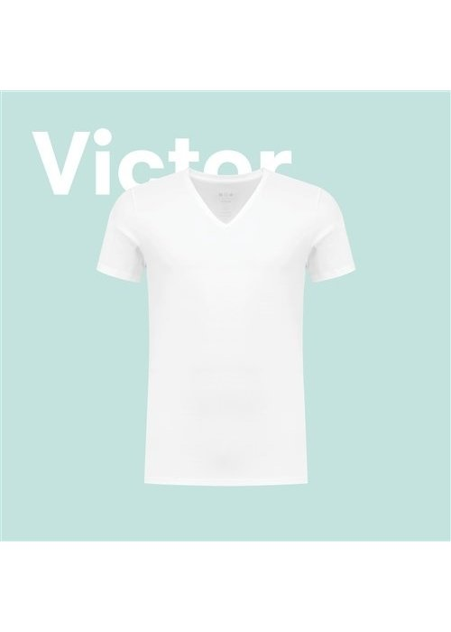 A-dam Victor White V Neck T-shirt
