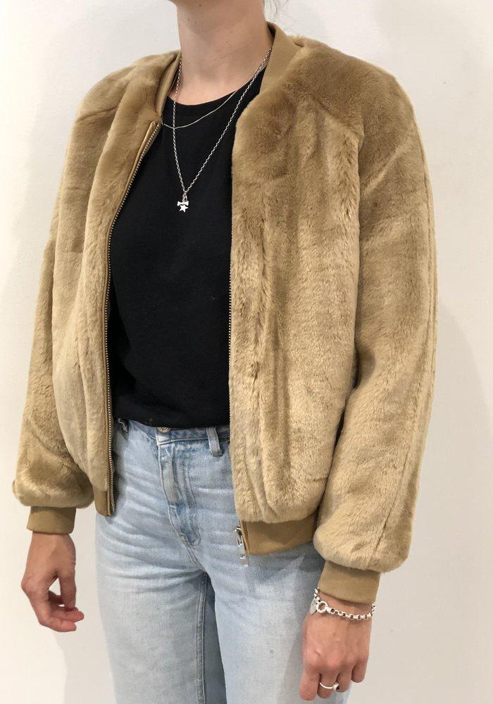 A J Faux Fur Bomber Khaki Brown