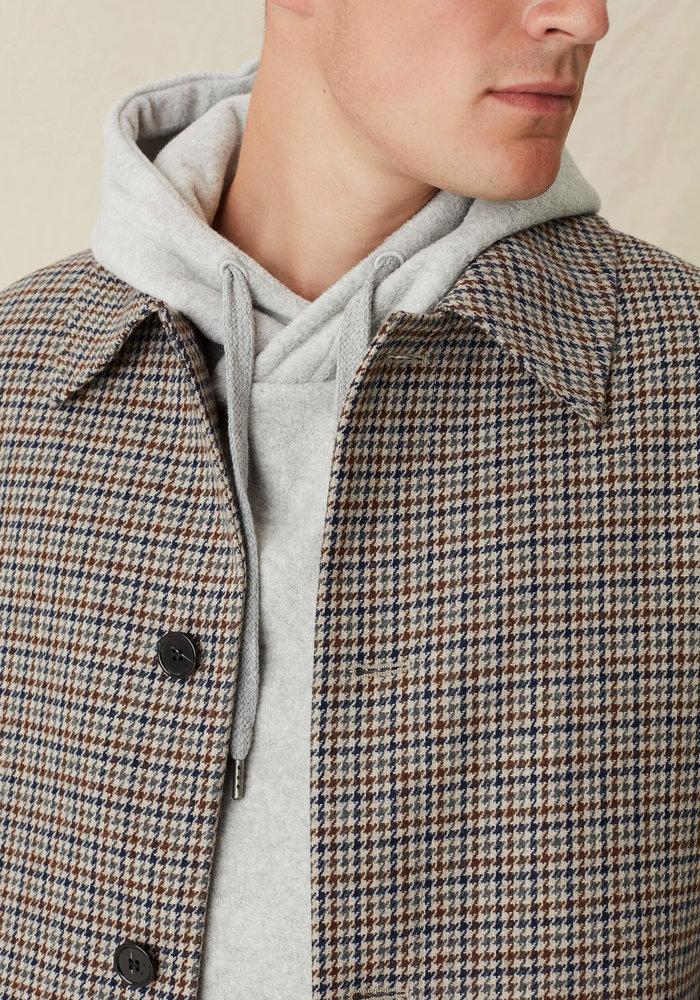 World Coat Wool Grey navy brown