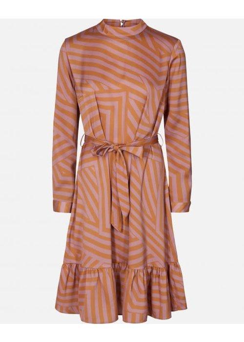 Moss Copenhagen Tessa Pink Stripe Dress Aop