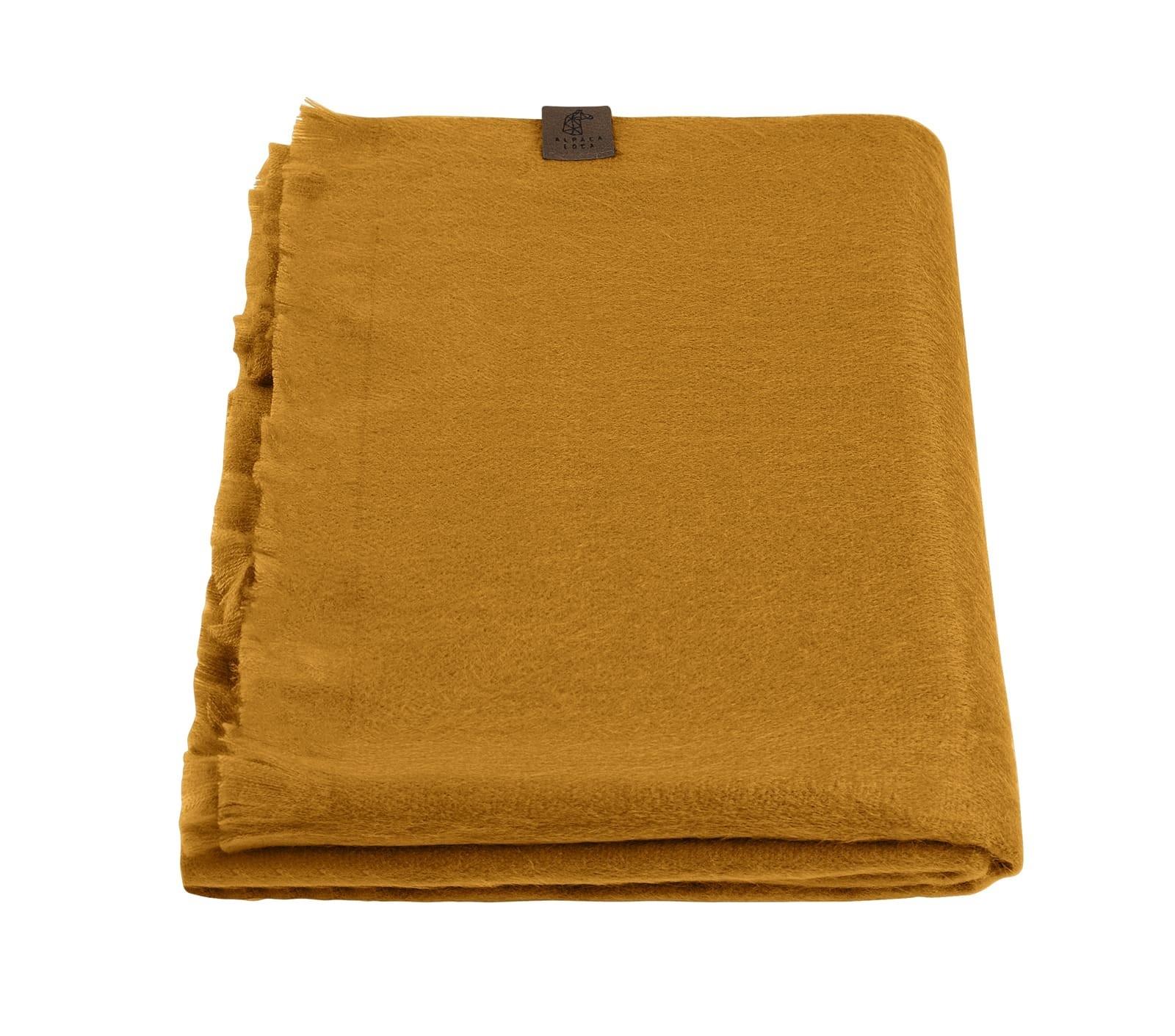 Alpaca Wool Scarf Ocher Yellow-1