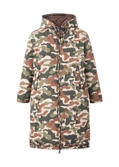 Brixtol Textiles Rhymes Reversible Puffer Jacket Brown Camo