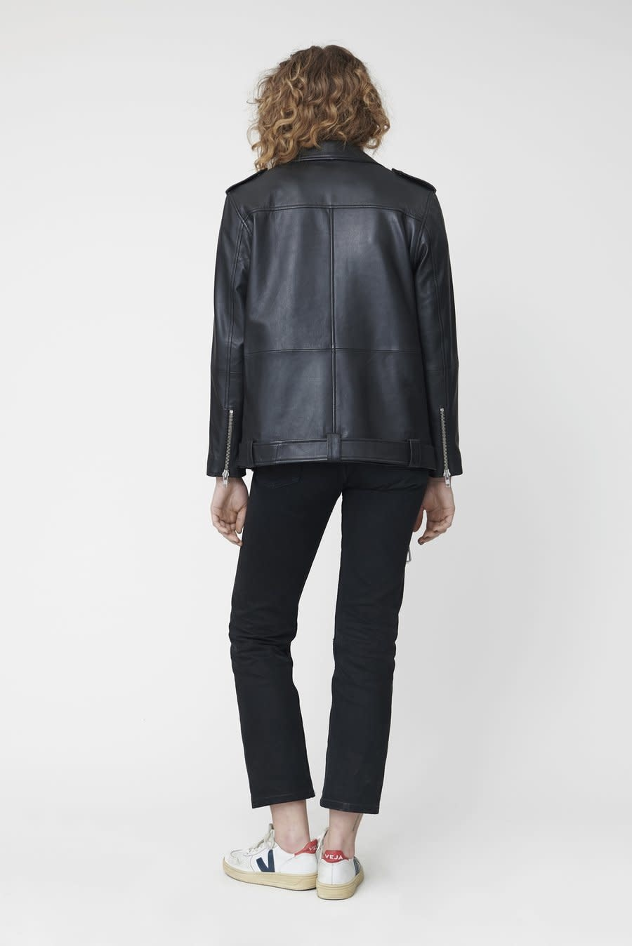 Noma Oversized Leather Biker Jacket Black-2