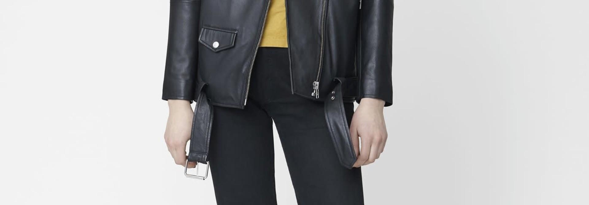 Noma Oversized Leather Biker Jacket Black