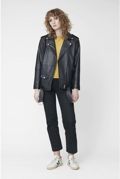 Noma Oversized Leather Biker Jacket Black