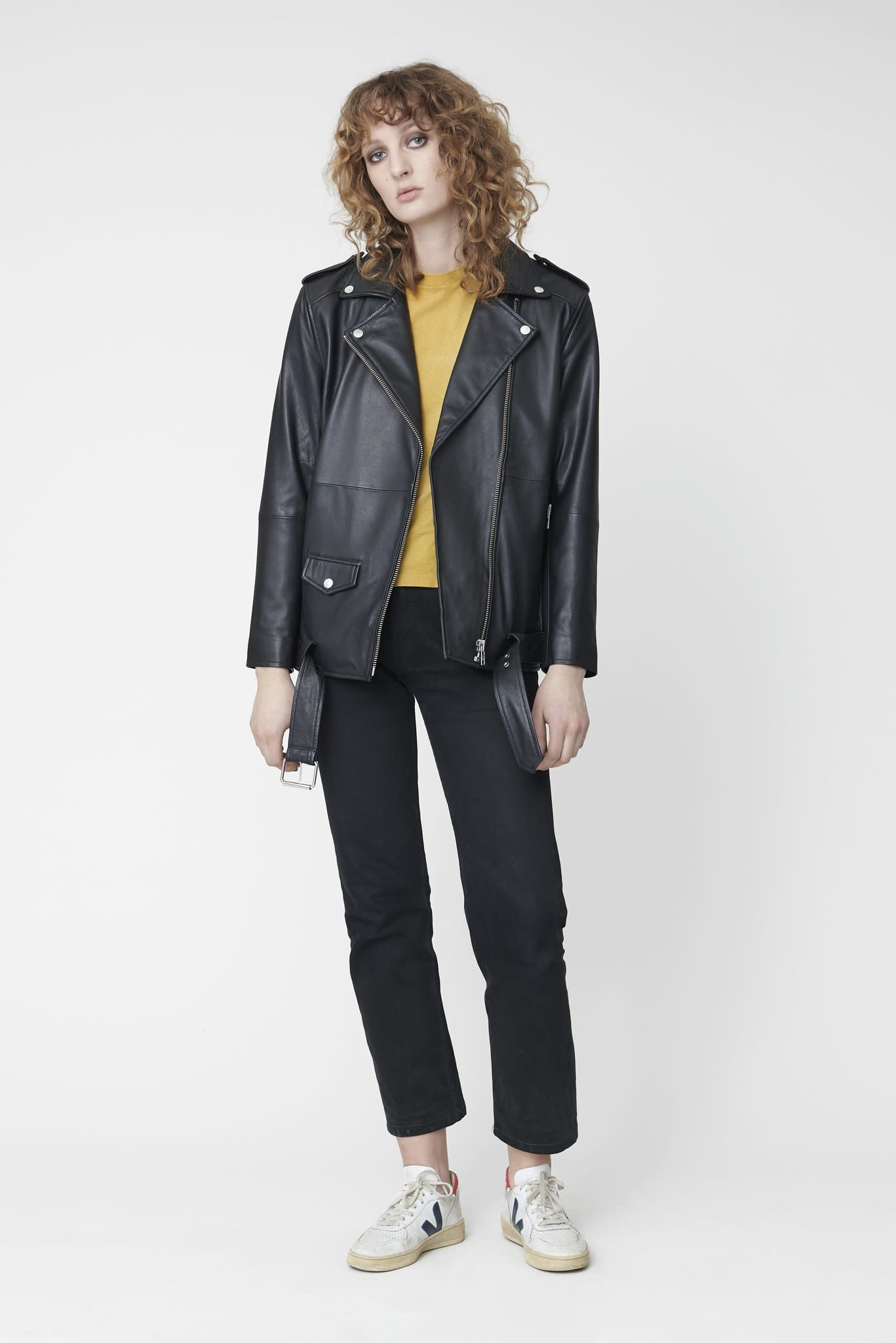 Noma Oversized Leather Biker Jacket Black-1