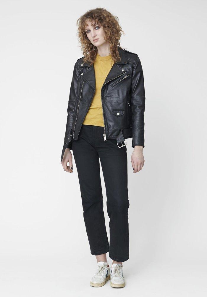 Deadwood's black leather Biker Jacket for women.