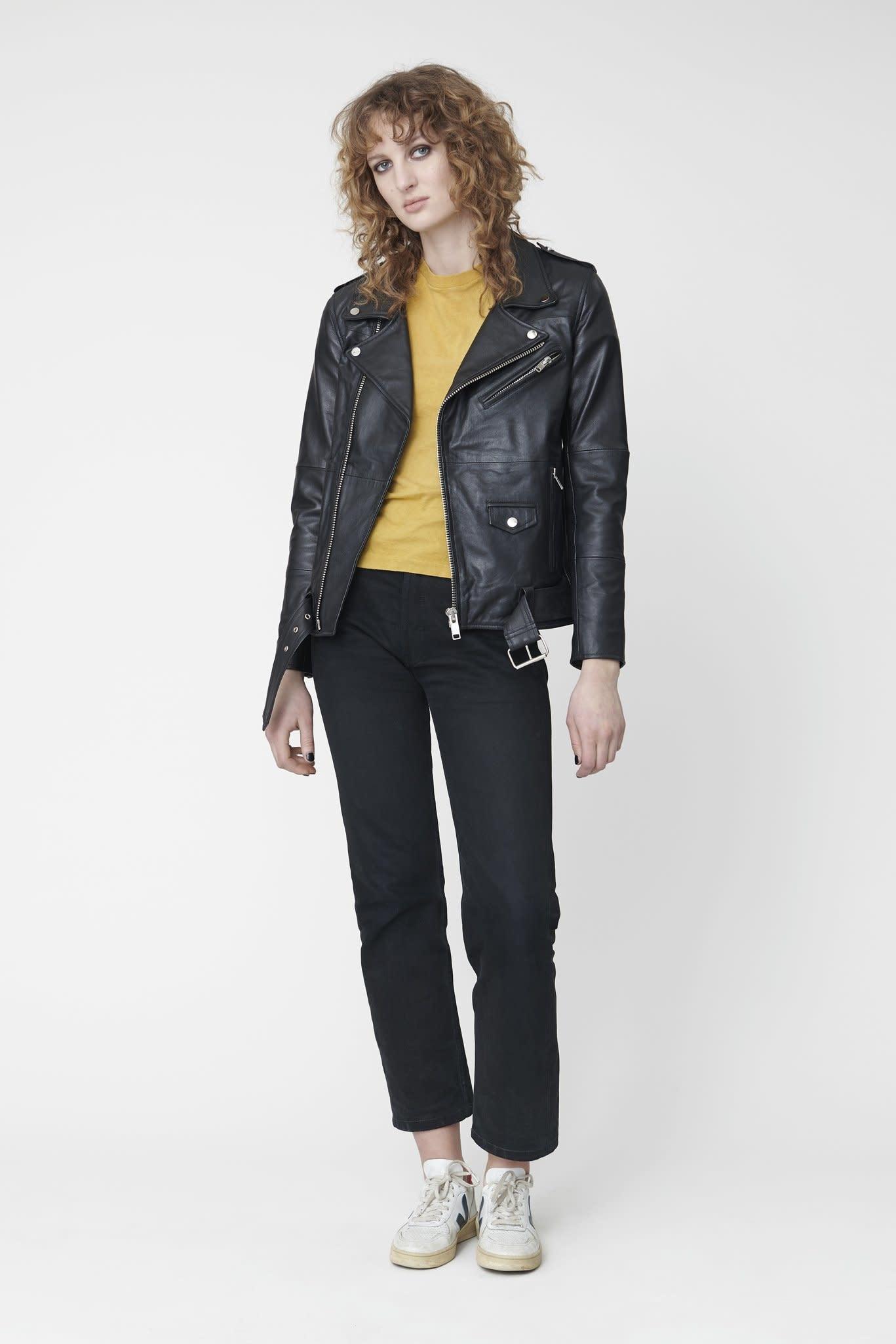 Deadwood's black leather Biker Jacket for women.-7
