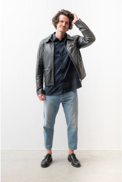 Samson Recycled Leather Jacket Black