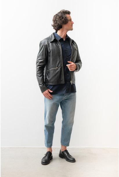 Samson Recycled Leather Jacket Black