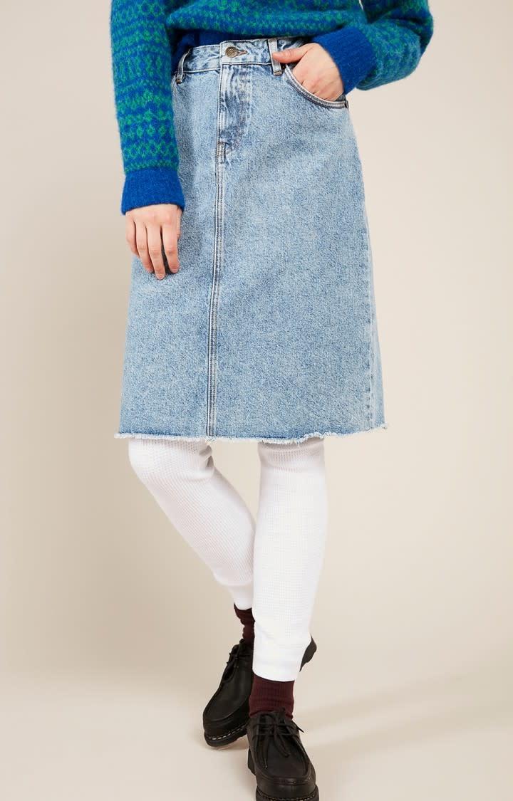 Wipy Stone Wash Denim Skirt-3