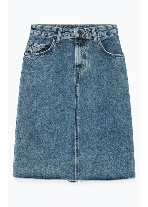 American Vintage Wipy Stone Wash Denim Skirt