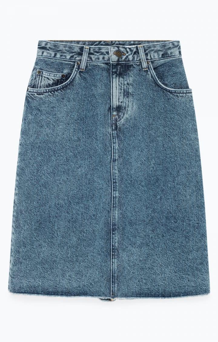 Wipy Stone Wash Denim Skirt-5