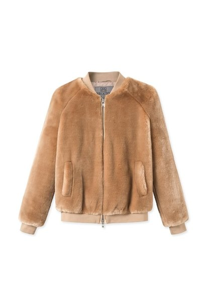 A J Faux Fur Khaki Brown