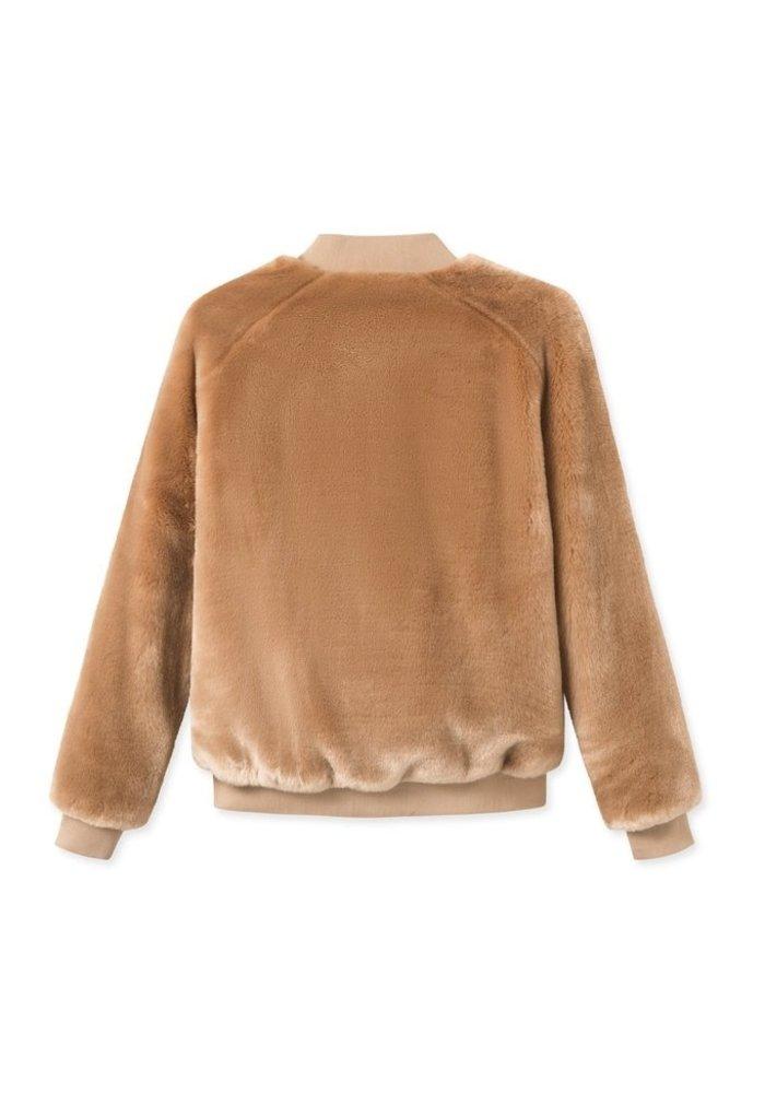 A J Faux Fur Khaki Brown