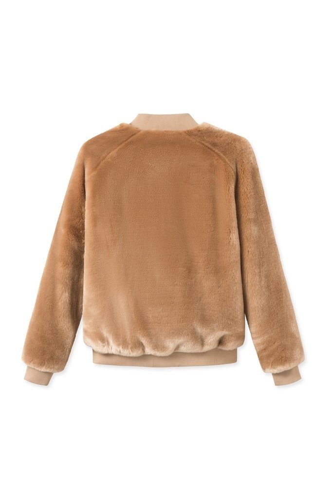 A J Faux Fur Khaki Brown-2