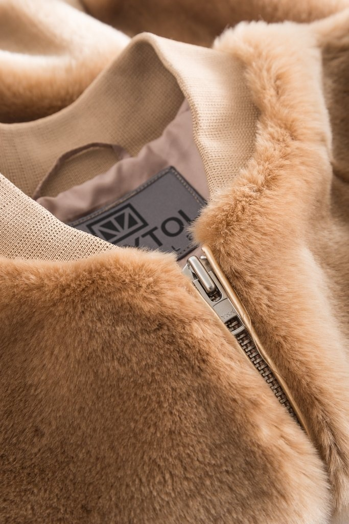 A J Faux Fur Khaki Brown-3
