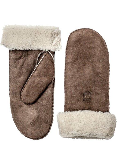 Hestra Gloves Sheepskin Leather Mitt Espresso Brown