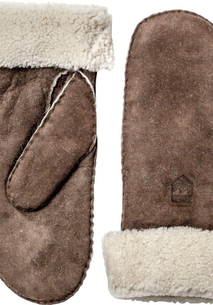 Sheepskin Leather Mitt Espresso Brown
