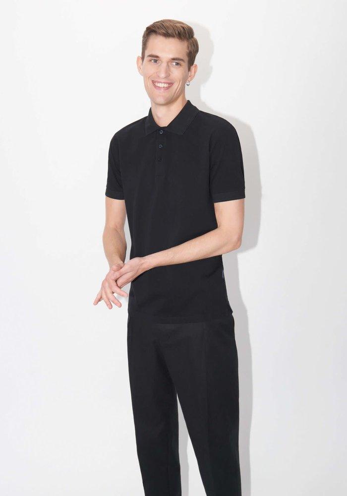 Darios Black Jersey Flat Collar Polo
