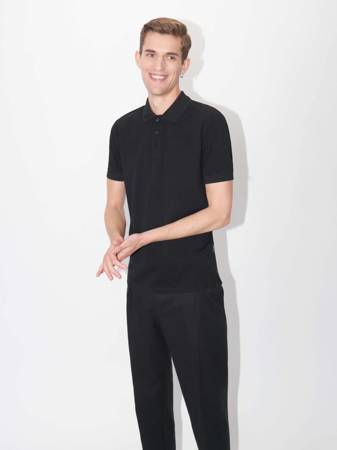 Darios Black Jersey Flat Collar Polo-3