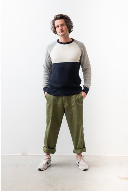 Color Block Knitwear Navy White Grey