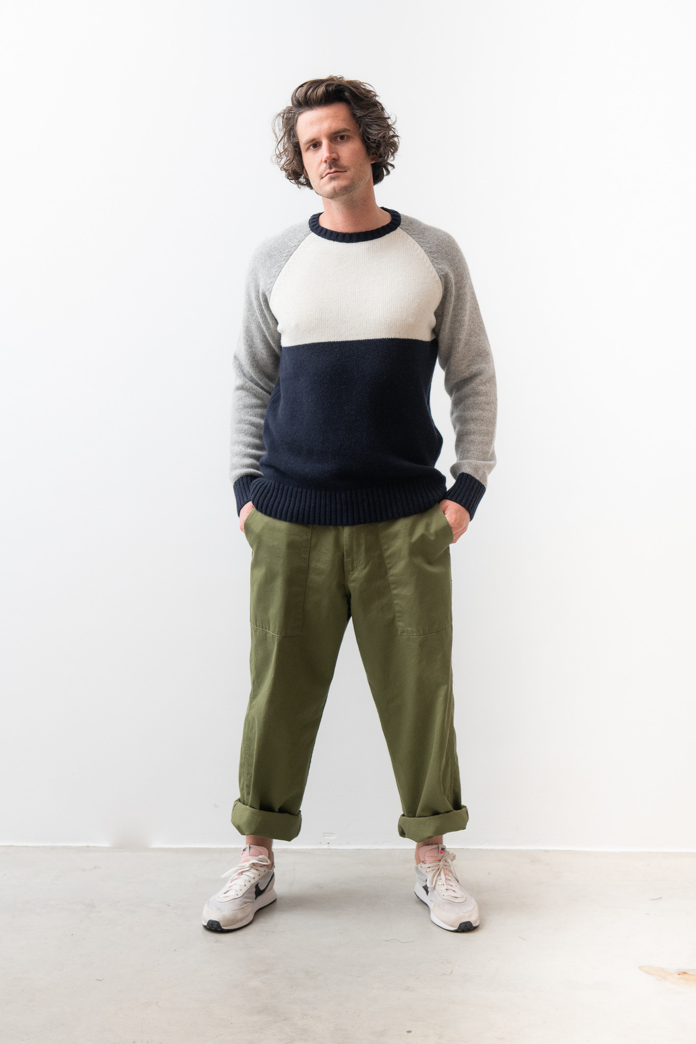 Color Block Knitwear Navy White Grey-1