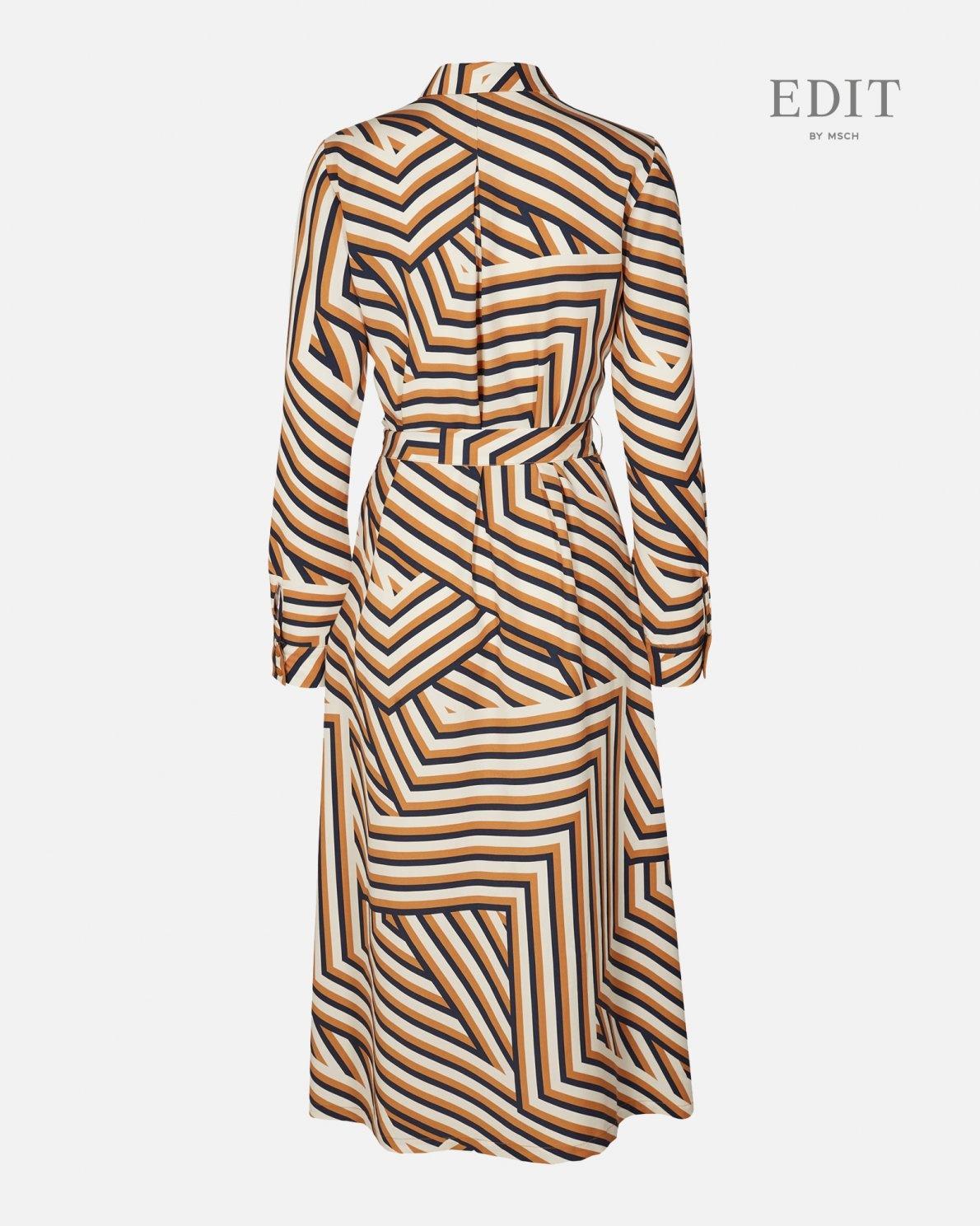 Anaya Spice Stripe Dress Navy Okar-2