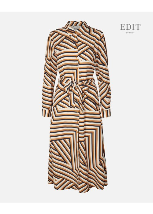 Edit by Moss Anaya Spice Stripe Dress Navy Okar