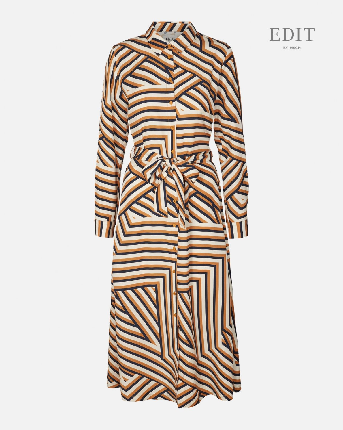 Anaya Spice Stripe Dress Navy Okar-1