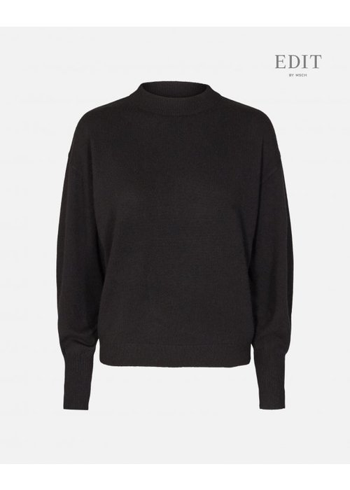 Edit by Moss Ingo Black Wool Pullover