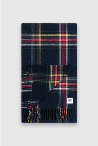 karlo Scarf Navy Checker  Wool