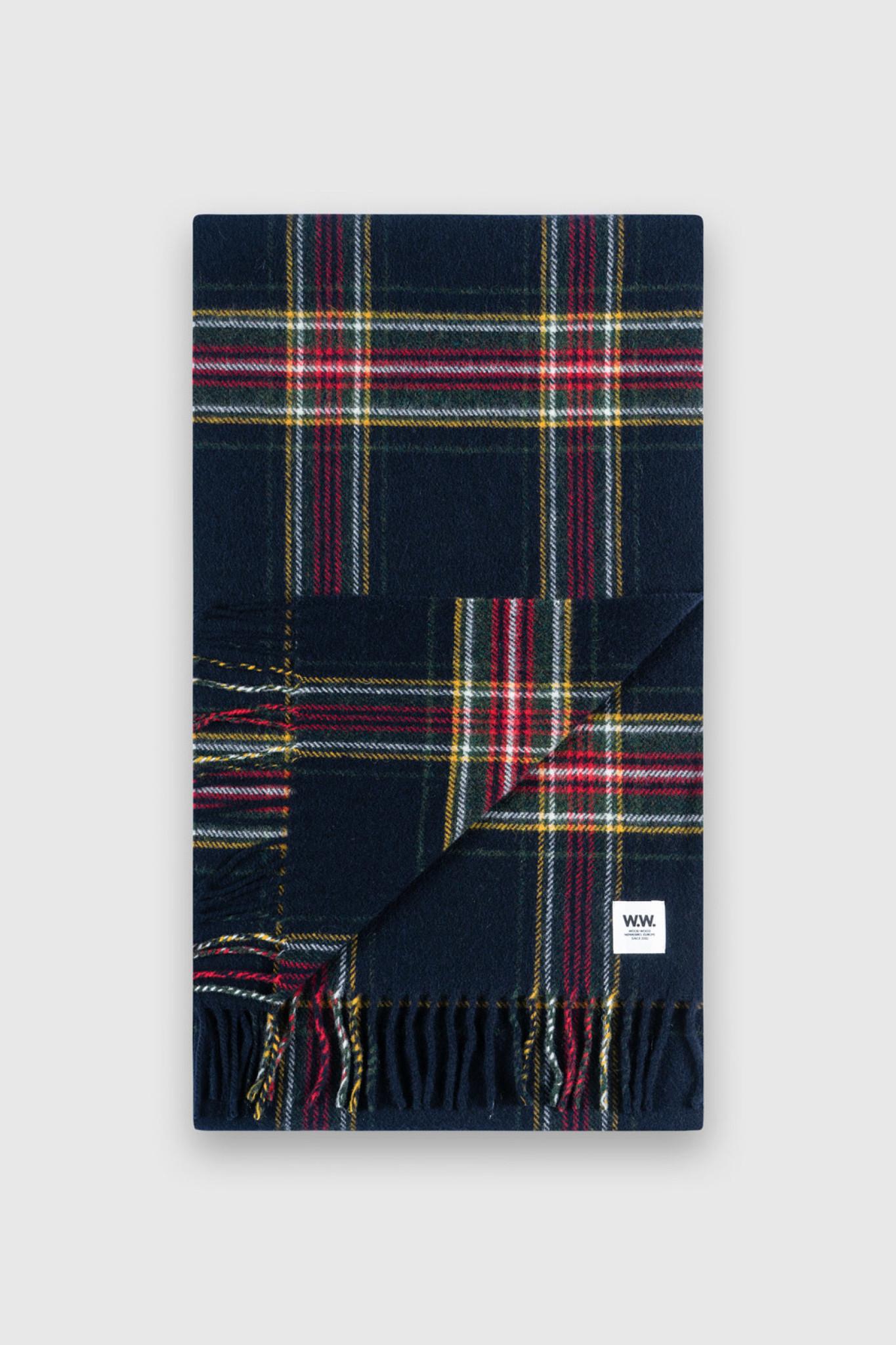 karlo Scarf Navy Checker  Wool-1