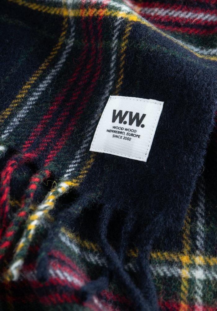 karlo Scarf Navy Checker  Wool