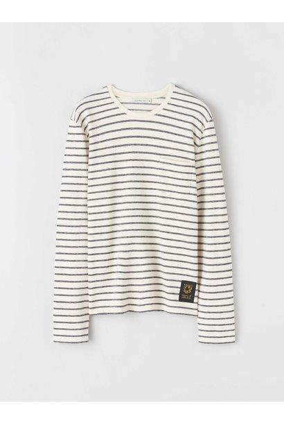 Salk Gestreepte Longsleeve T-Shirt Ecru Zwart