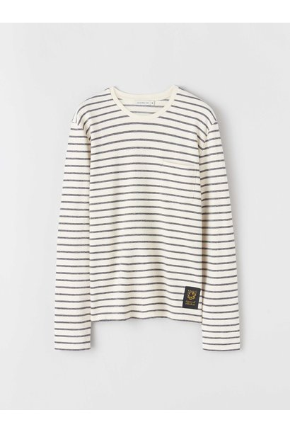 Salk Longsleeved Stripe T-Shirt Ecru Black