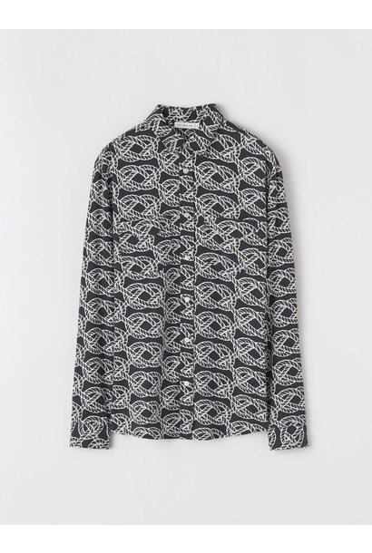 Sid R Cable shirt zwart
