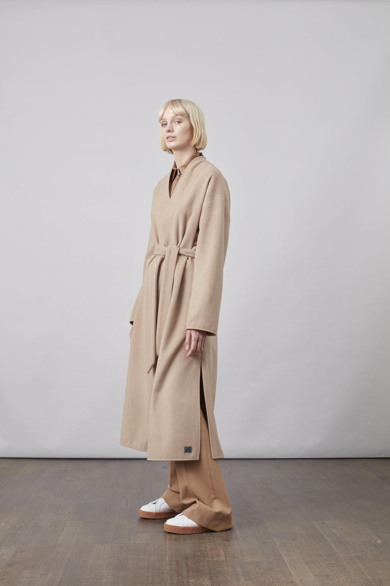 Lazaar Wool Coat Sand Brown-3