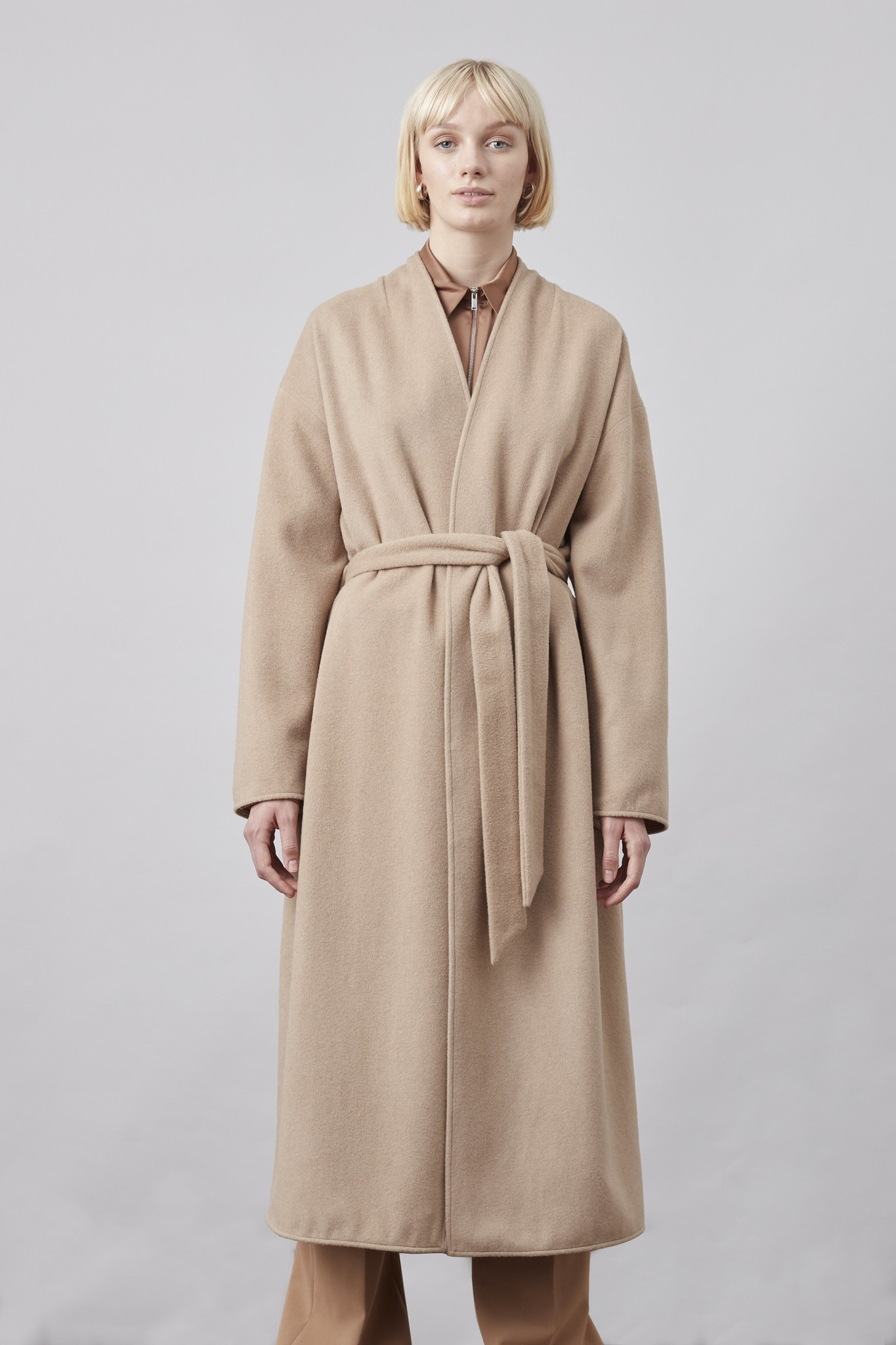 Lazaar Wool Coat Sand Brown-4